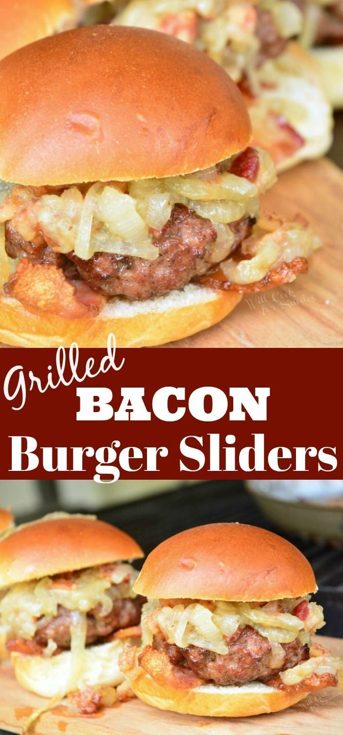 Burger Sliders recipe  topped with Bacon Caramelized Onions. This is a simple bacon burger recipe that combines finely ground bacon with ground beef to create a juicy, bacon infused hamburger.
