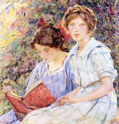 """Two Girls Reading"" by Robert Reid (1862-1929)"