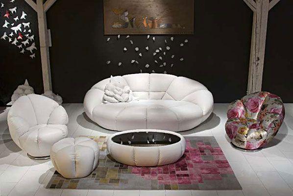 Kautsch Collection: white leather round sofa; virtual ...