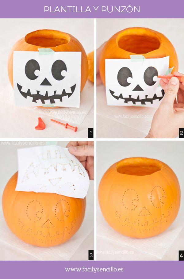 Tallado Calabaza Halloween 3 Es Hora De Tallar Fácil Y Sencillo Dibujos De Calabazas Halloween Calabazas De Halloween Cosas De Halloween