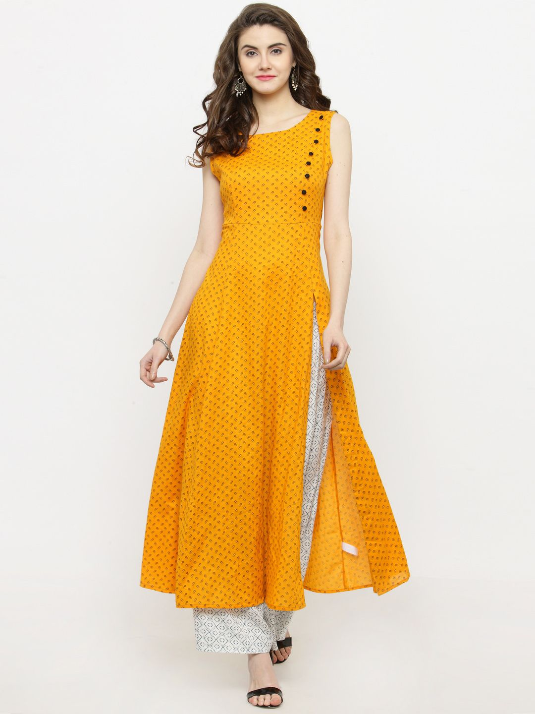 bb6437563e Sera Yellow Printed Kurta with Palazzo #Yellow #Printed #Kurta ...