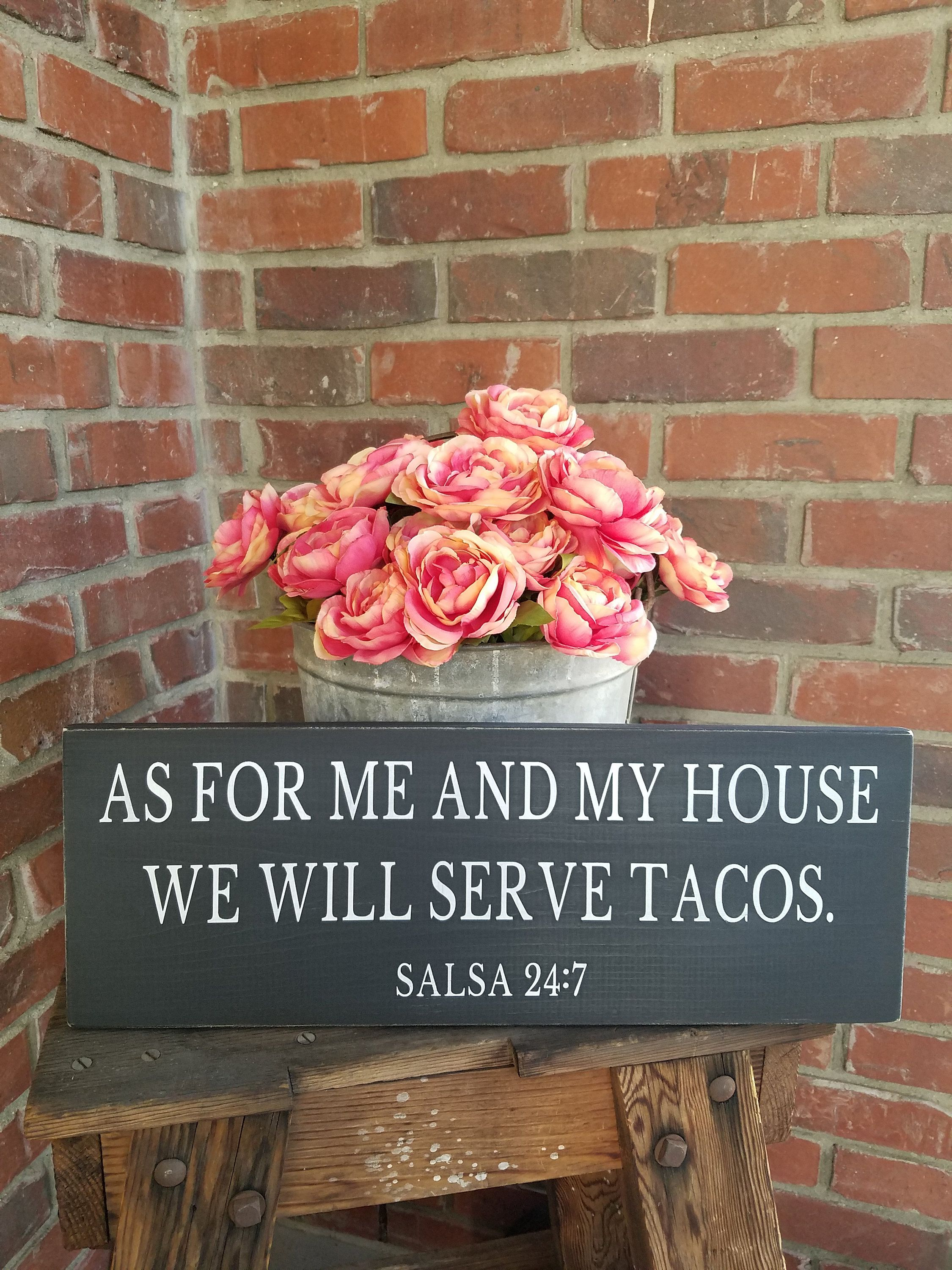As For Me And My House We Will Serve Tacos Wood Sign Funny Kitchen Decor Rustic Taco