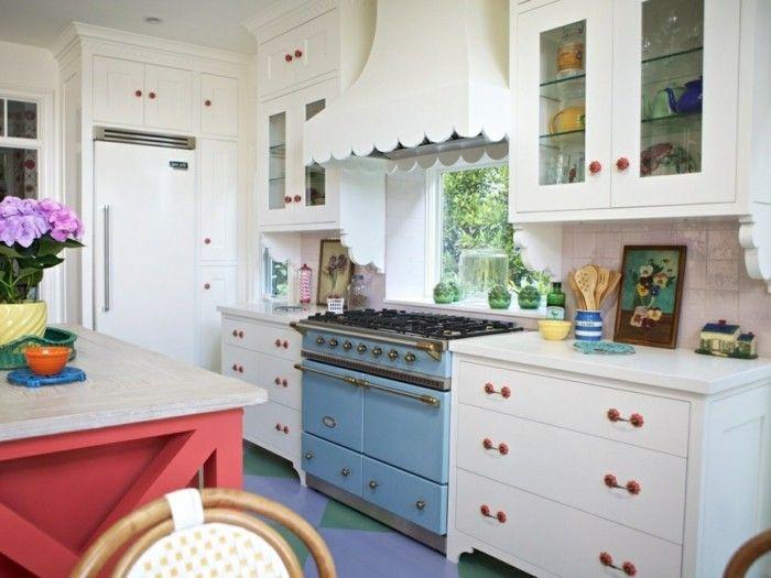 wohnideen küche blauer herd rote kücheninsel lehetosegek - kuche blaue wande