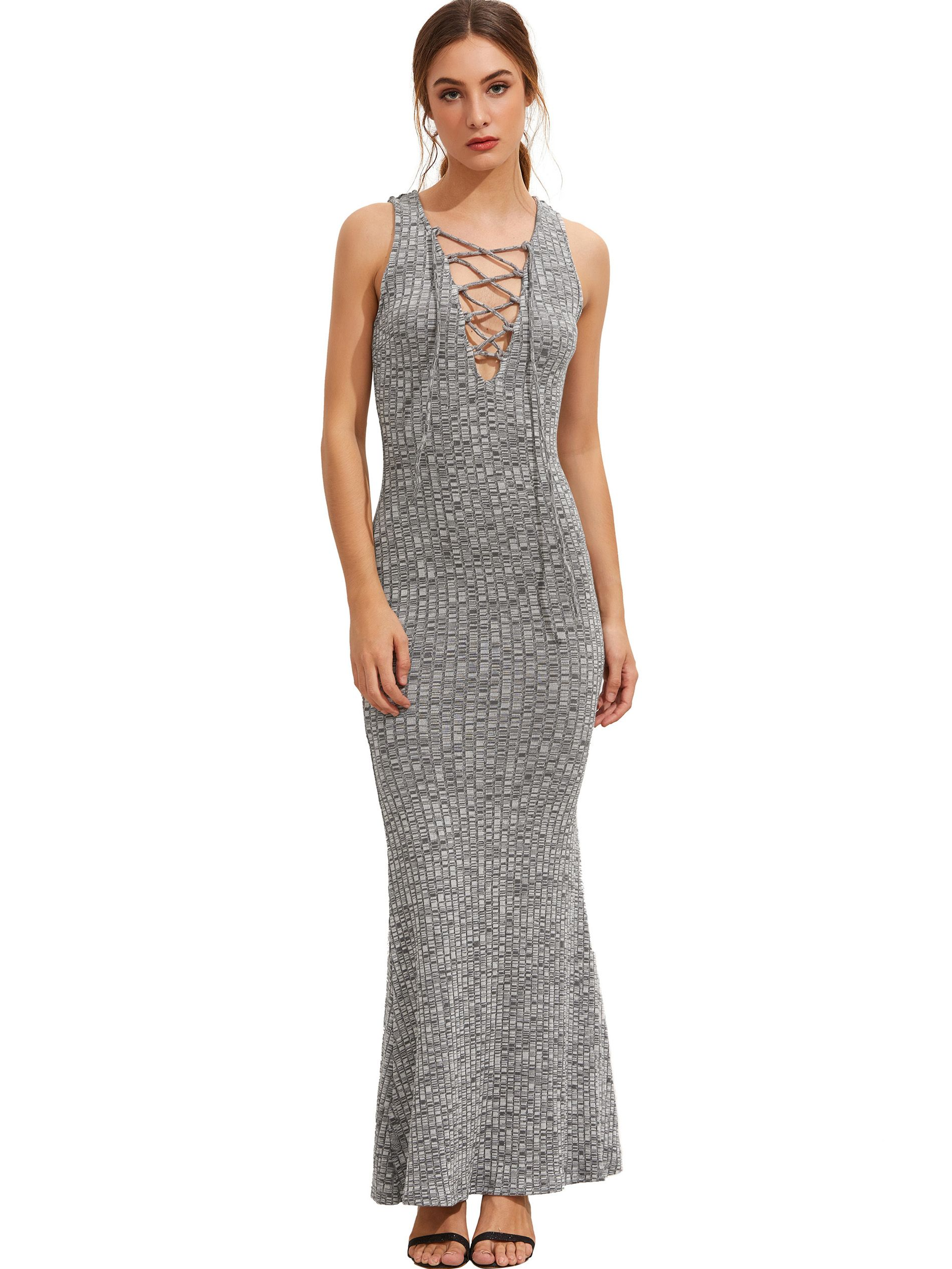 8b25a6a3dd3 Shop Grey Sleeveless Lace Up Maxi Dress online. SheIn offers Grey Sleeveless  Lace Up Maxi Dress   more to fit your fashionable needs.