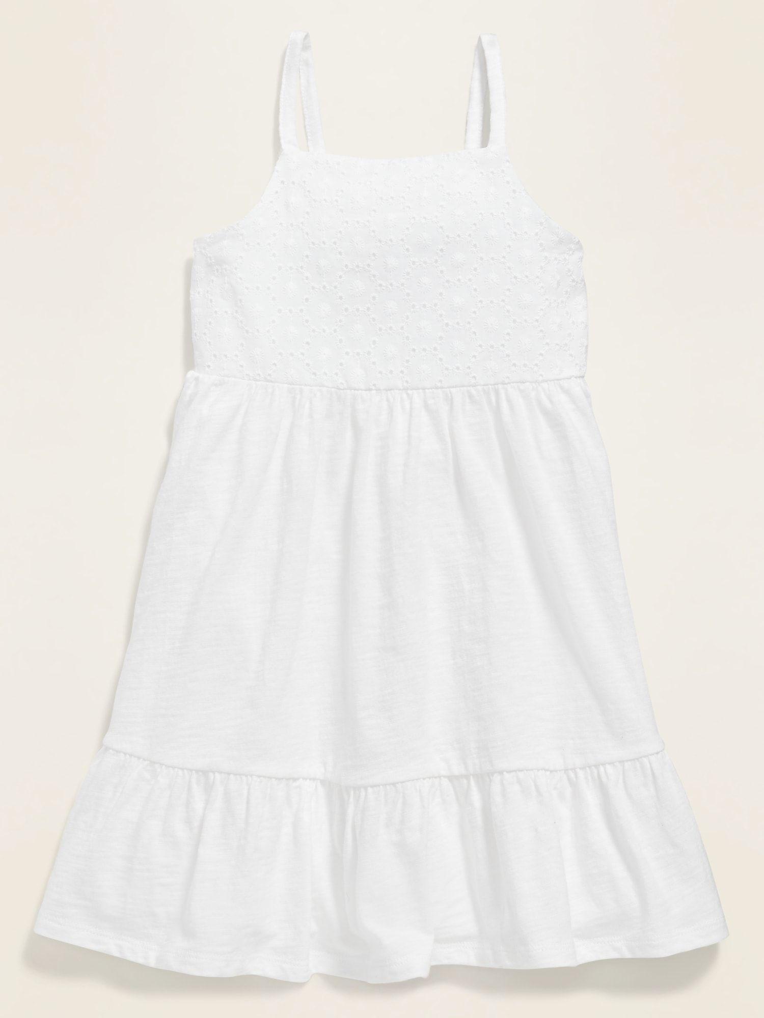 Fit Flare Eyelet Yoke Cami Dress For Toddler Girls Old Navy Toddler White Dress White Spaghetti Strap Dress Toddler Girl Dresses [ 2000 x 1500 Pixel ]