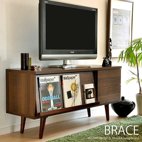 真似したいインテリアアイデア 北欧スタイルのウッドテレビ台 インテリア ミッドセンチュリー リビング インテリア 家具