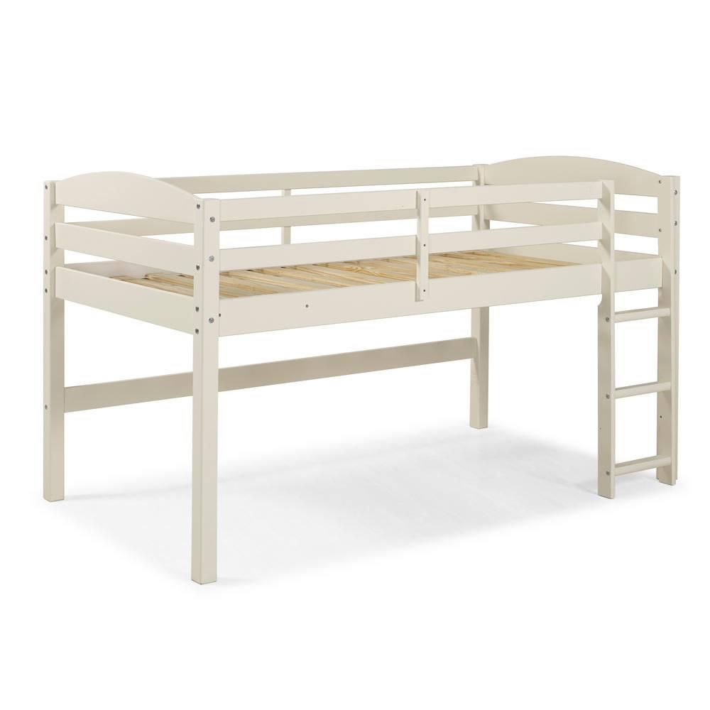Walker Edison Furniture Company Solid Wood Low Loft White Twin Bed