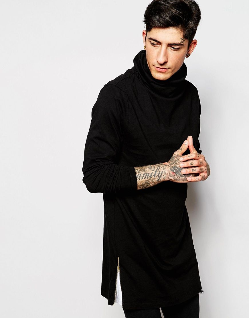 251c7c5363ba Image 1 of ASOS Super Longline Long Sleeve T-Shirt With Cowl Neck And Zips  In Black