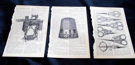 Set of three retro-style images printed in black ink on