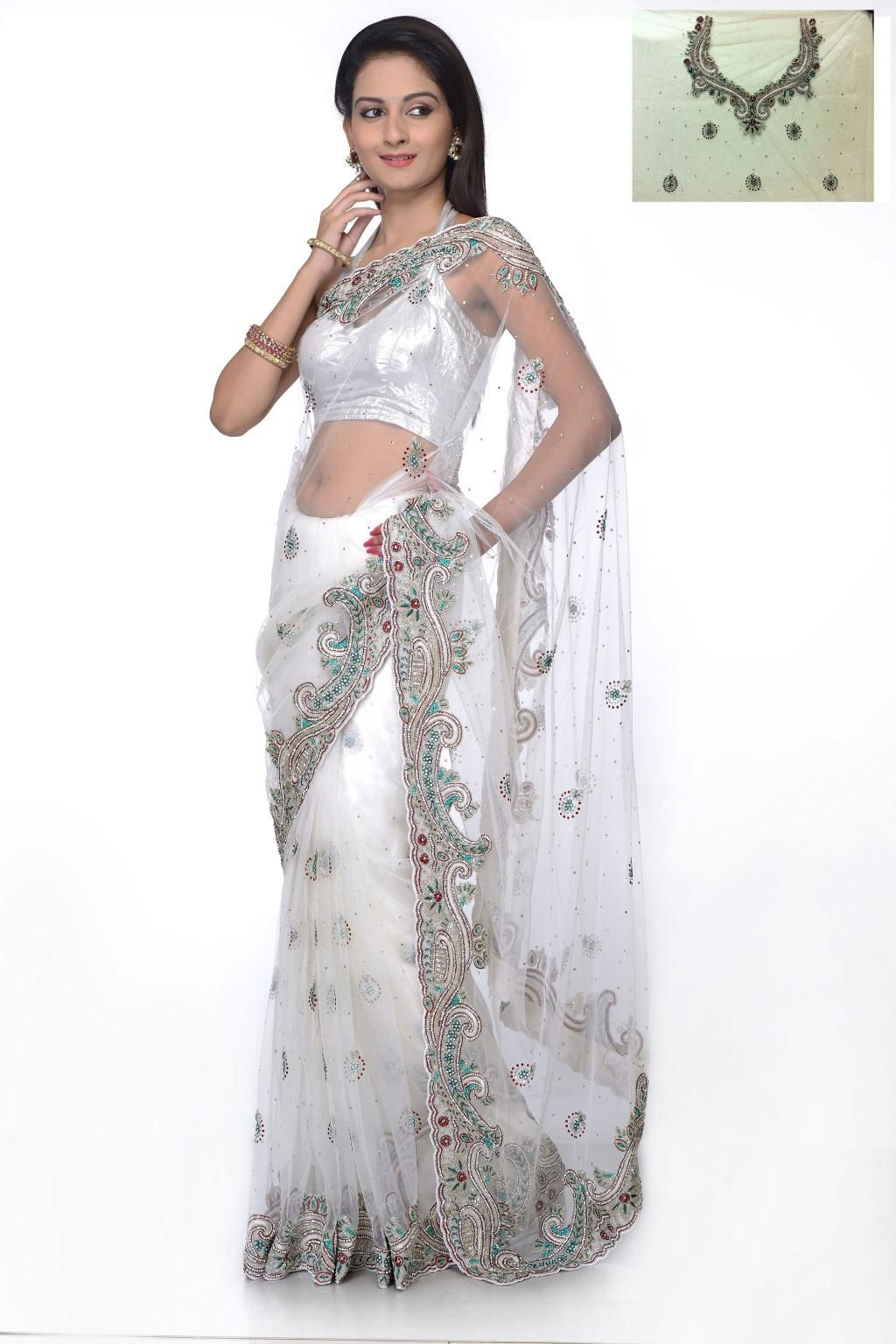 White Embroidery With Stone Work Net Wedding Saree 25393