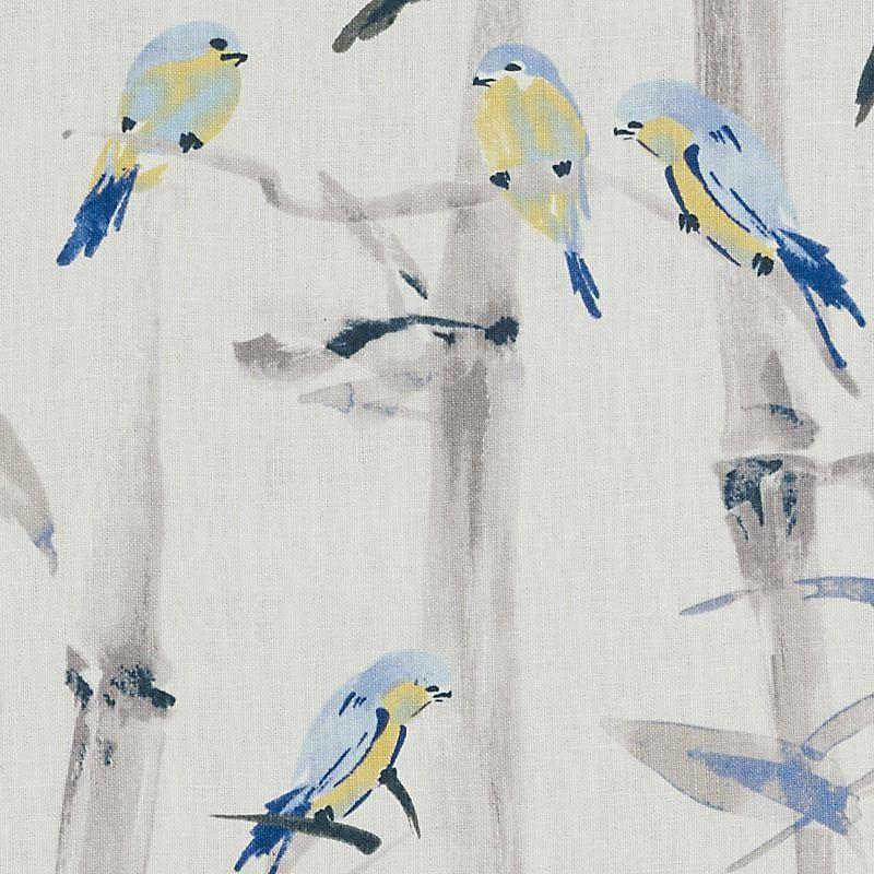 Novelty kids Nursery cushion curtains bird cage animal flower print blue fabric