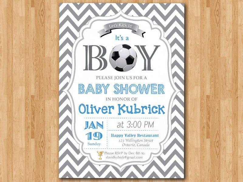 Soccer Baby Shower Invitation. Baby boy chevron invites. Baby boy ...