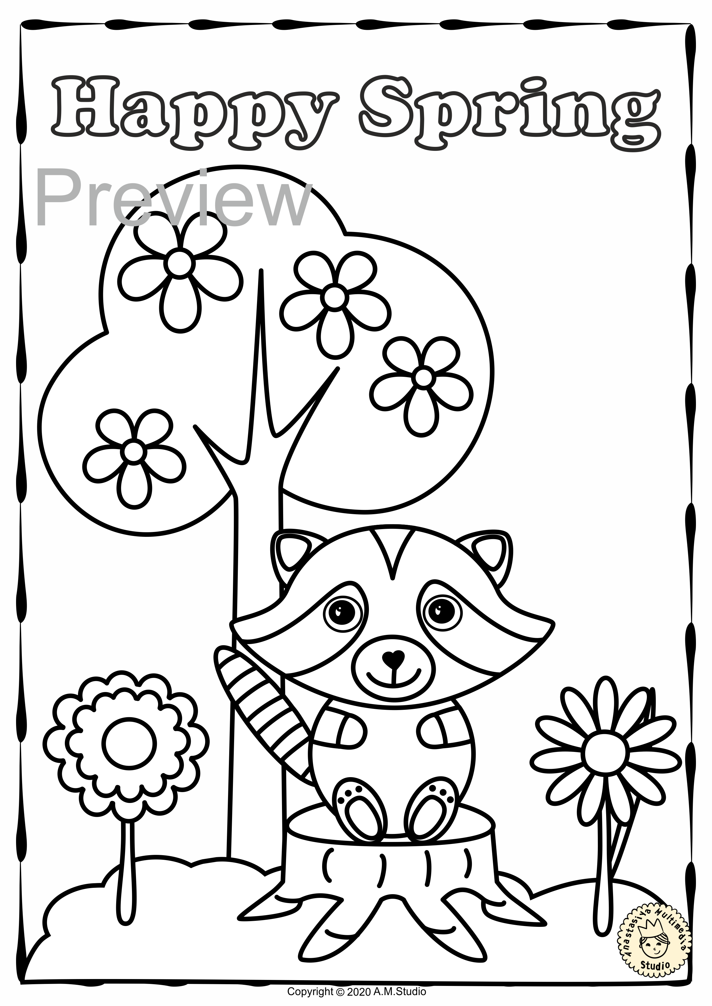 This Spring Coloring Pages Activity Includes 20 Different