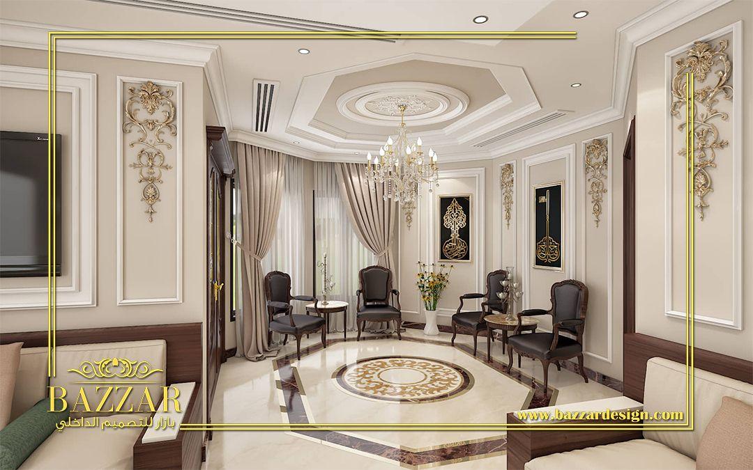 مجلس رجال على طراز النيو كلاسيك تم استخدام البانوهات المطعمة بالزخارف الذهبية لاضافة نوع من الفخامة كما تم استخدام الجلسة العربية Modern House Home Home Decor