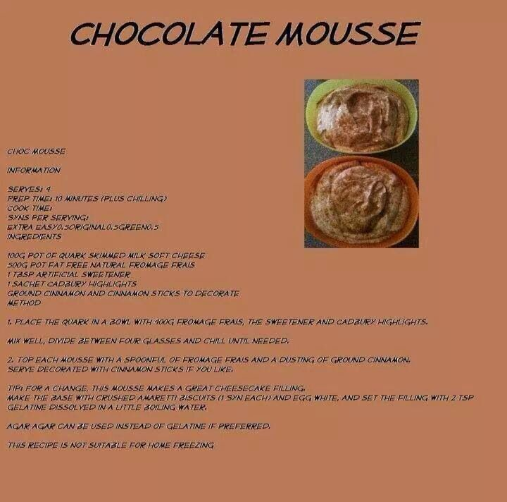 Chocolate mousse | Slimming world treats, Slimming world ...