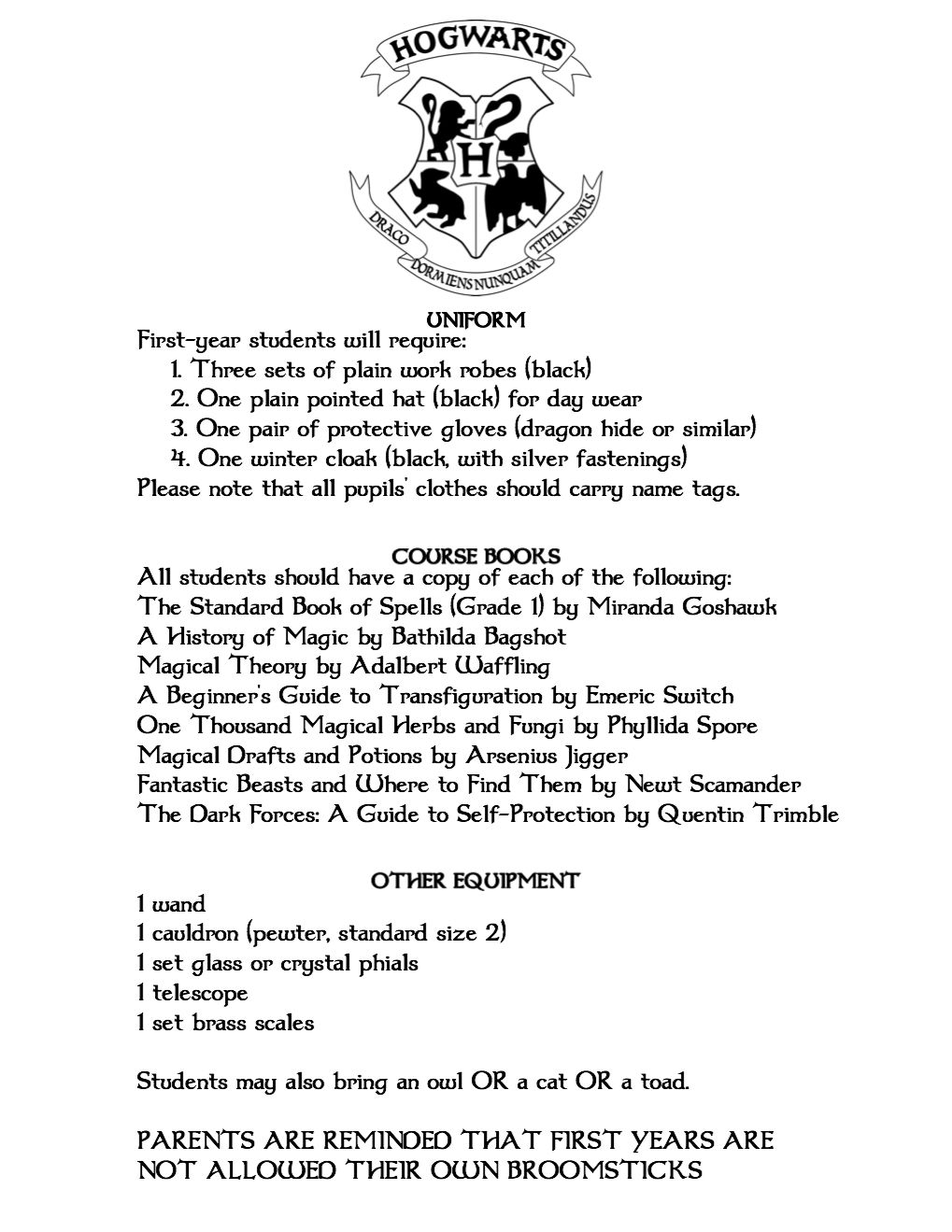 Hogwarts Acceptance Letter Printable Hogwarts Acceptance Letter