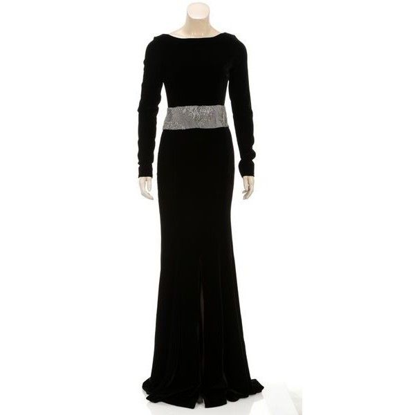 Pre-Owned Oday Shakar Black Long Sleeve Velvet Evening Gown ...