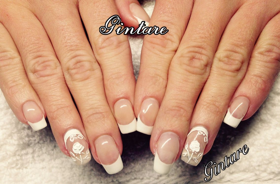 Gel Nail Extensionsfrench Manicure3d Designnail Art Nails