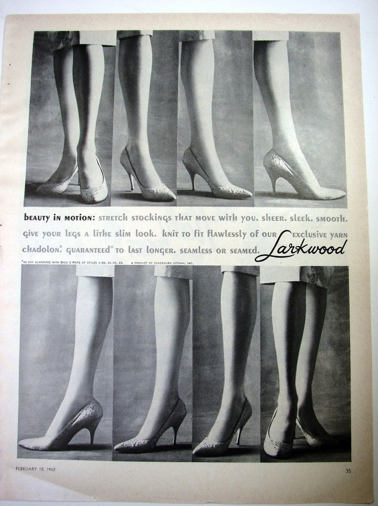 d271728fd5613 1962 LARKWOOD Stretch Nylons STOCKINGS Vintage FASHION HOSIERY Photo Print  Ad