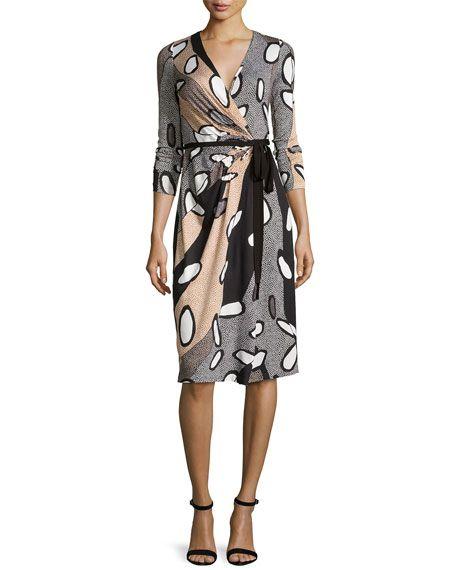 DIANE VON FURSTENBERG Elizabel Printed Silk Wrap Dress, Avante-Garde Blac. #dianevonfurstenberg #cloth #