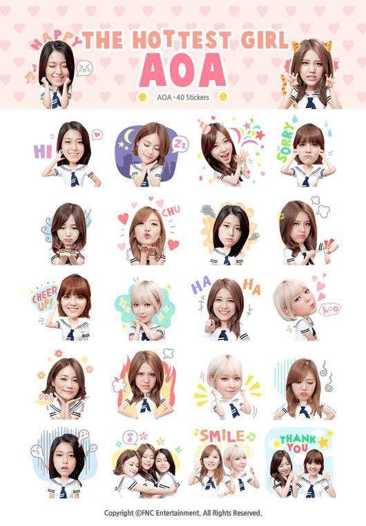 K Pop Girl Group Aoa Gets Their Own Kakaotalk Emoticons Koogle Tv Aoa Kpop Girls Girl Group