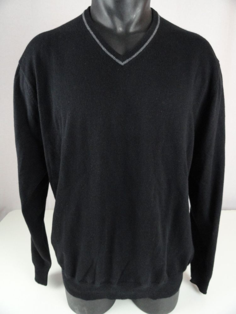 NWT Jos A Bank Mens XL V Neck Sweater Cashmere Cotton Blend Black ...