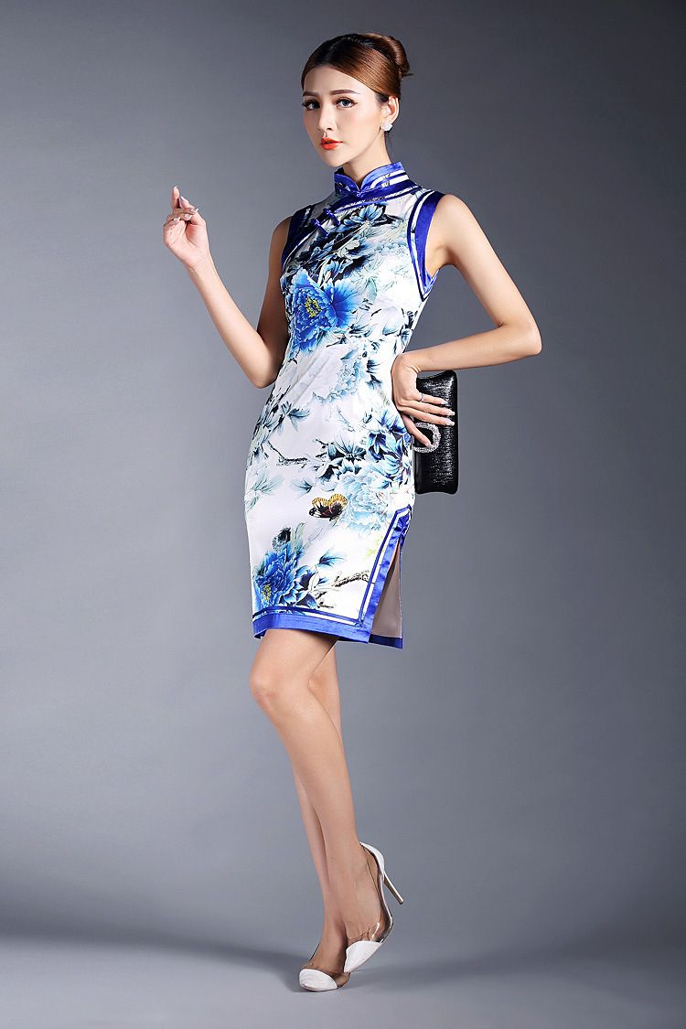 689b5f8e6 Blue peony floral Chinese painting mandarin collar silk dress sleeveless  summer cheongsam AYiKe-15299 003