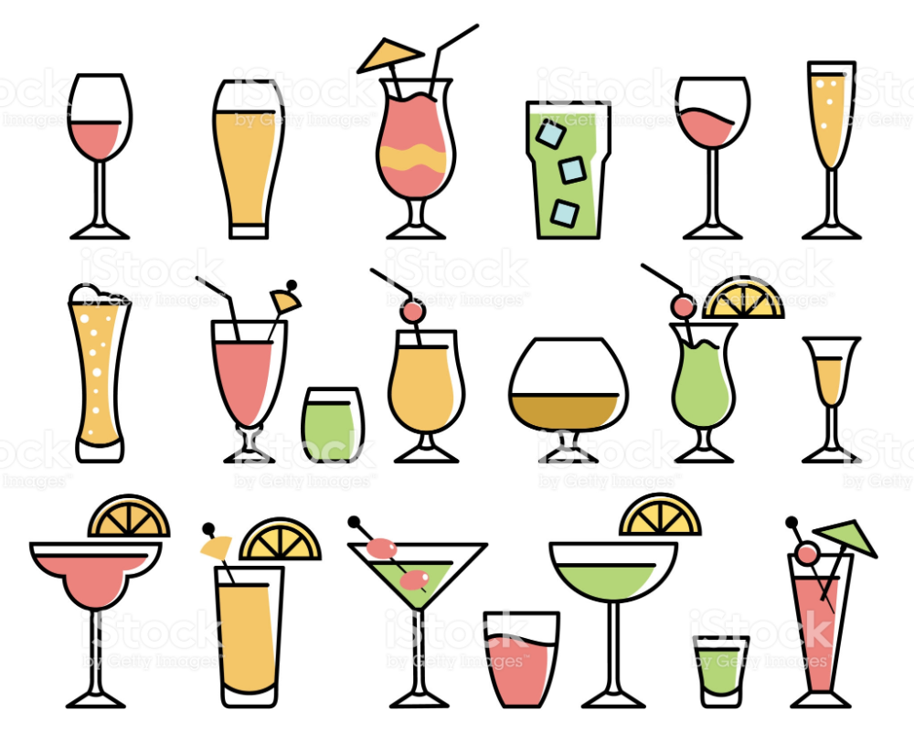 Vector Illustration Of The Drinks And Alcohol Drinks Icons Alcoholic Drinks Icon Set Vector Illustration