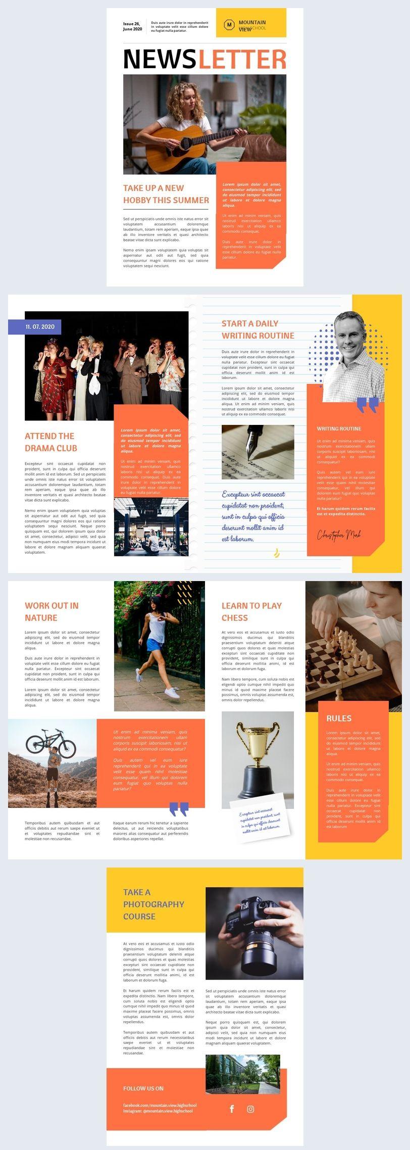 High School Newsletter Template   School newsletter, School ...