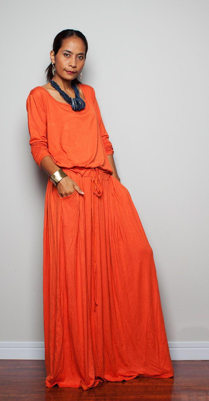 PLUS SIZE Maxi Dress (Brick Orange) - Long Sleeve dress ...