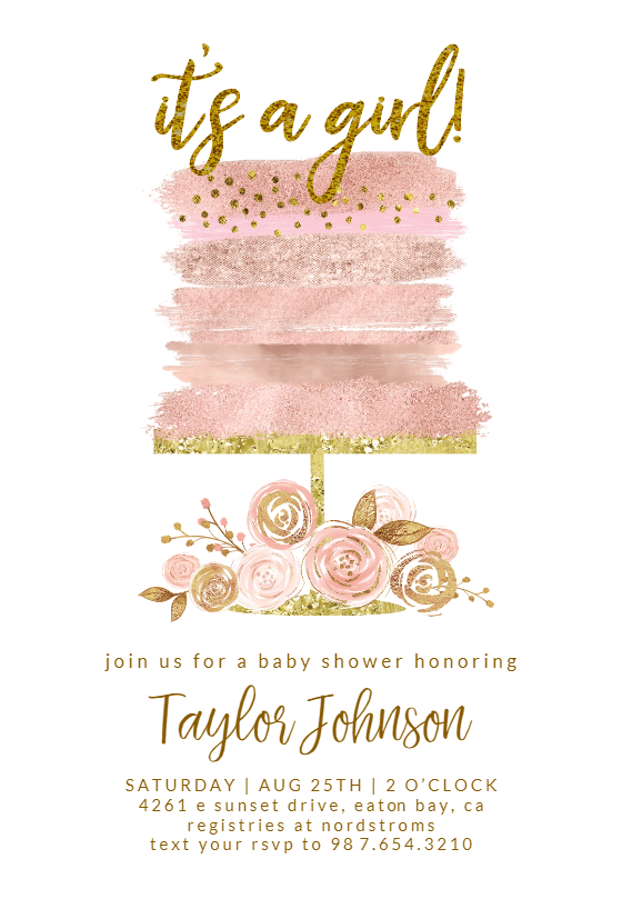 Glitter Cake Baby Shower Invitation Template Free Greetings Island Baby Shower Invitations Baby Shower Invitation Templates Baby Shower Invites For Girl