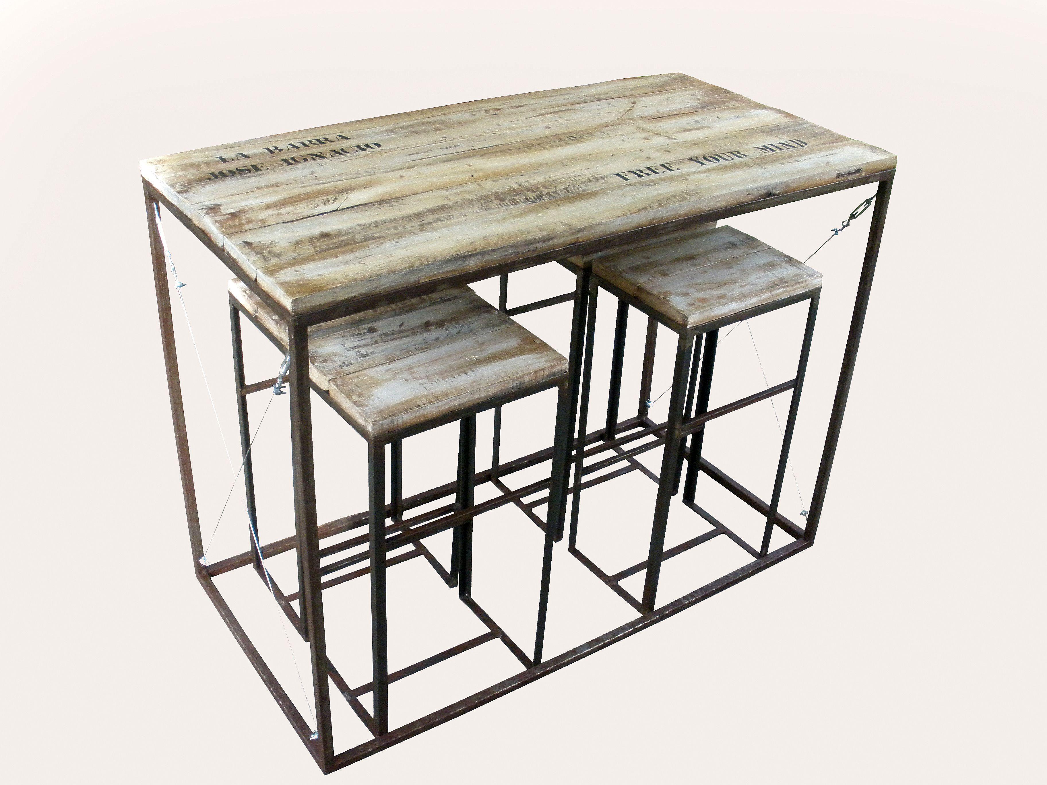 Mesa mas taburetes hierro y madera recuperada, $4100 en https ...