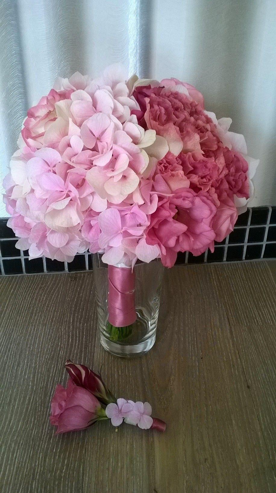 Brautstrau hortensien und lisianthus flowerpower for Pinterest blumen