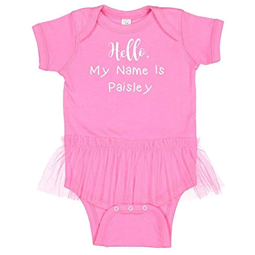 """Cute /""""Hello My Name Is/"""" Personalized One Piece Creeper Girl Infant Baby Clothing"""