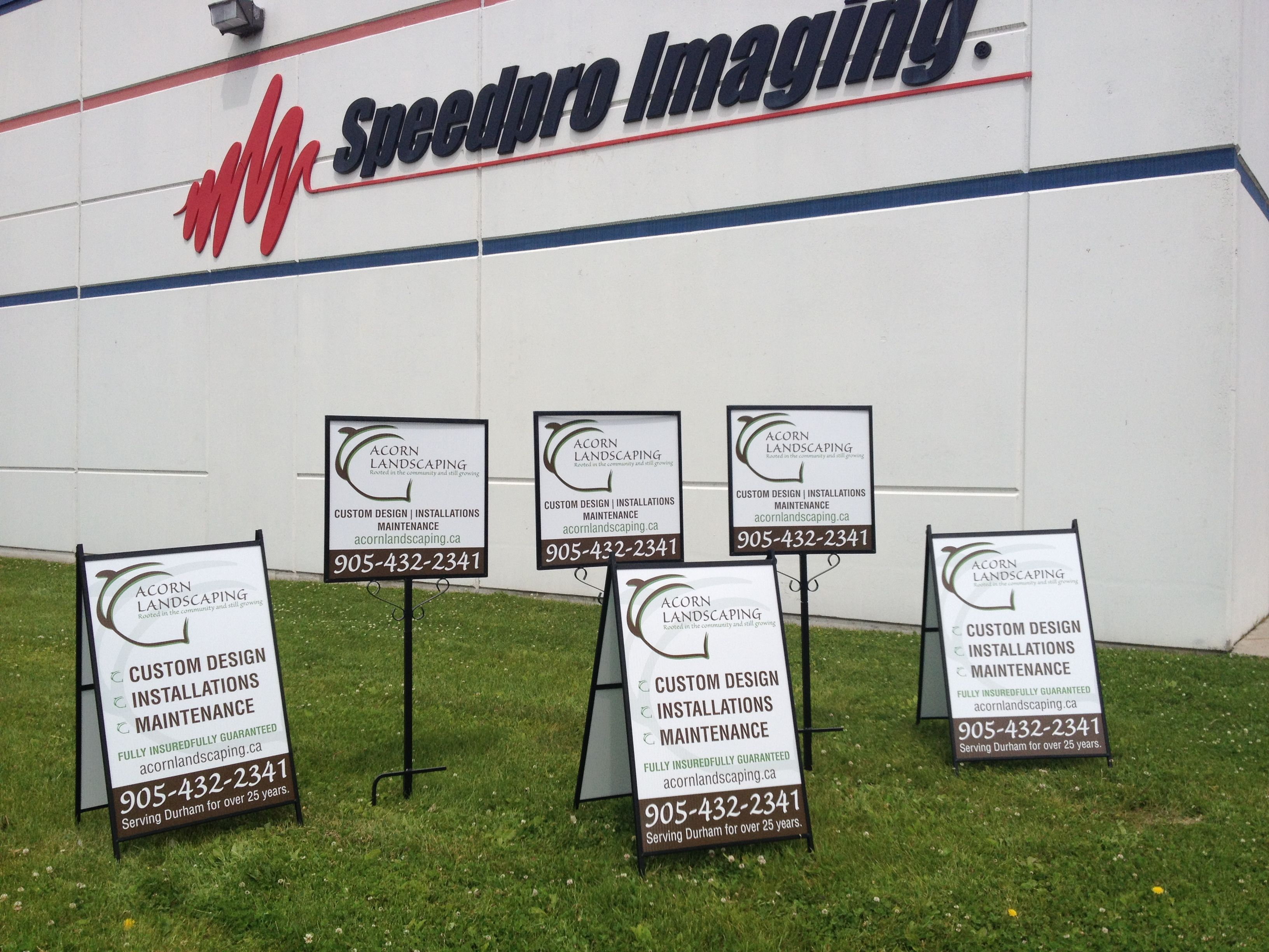 Awesome Lawn Signs Completed For Acorn Landscaping 3 Double Sided Metal A Frames With Coroplast And 3 Double Sided Outdoor Signage Lawn Sign Window Graphics