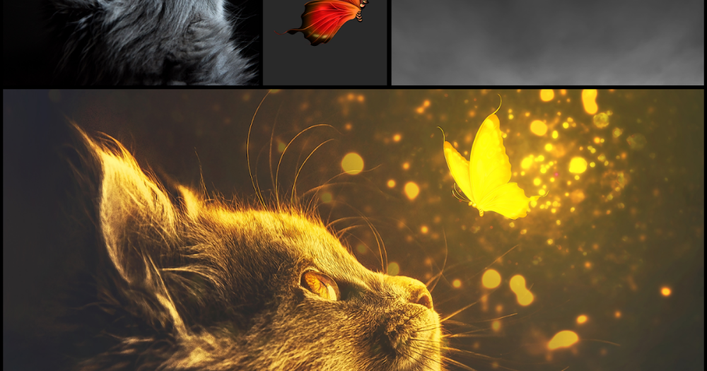 In This Photoshop Tutorial Learn How To Create Cat And Butterfly Glow Light Effect With Dramatic Ligh Fantasy Background Photoshop Tutorial Photoshop Painting