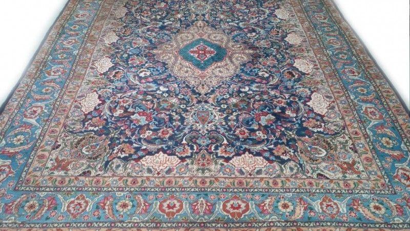 Perzisch Tapijt Blauw : Kashan tapijt blauw beige licht sleets 250 x 350 cm vintage