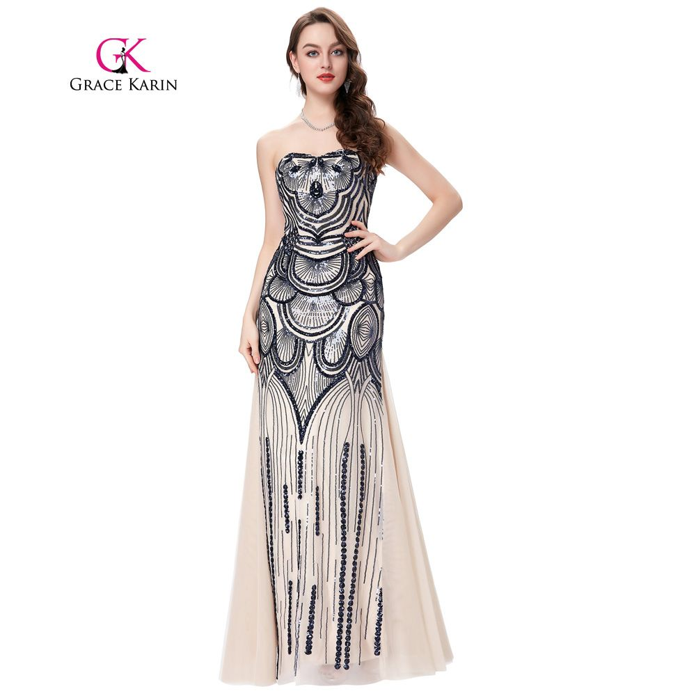 Strapless mermaid prom dress grace karin long vintage formal