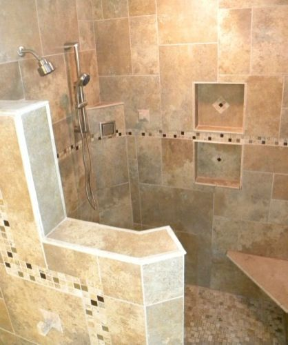 Doorless Showers On Pinterest Shower Designs Walk In Shower And Travertine Shower