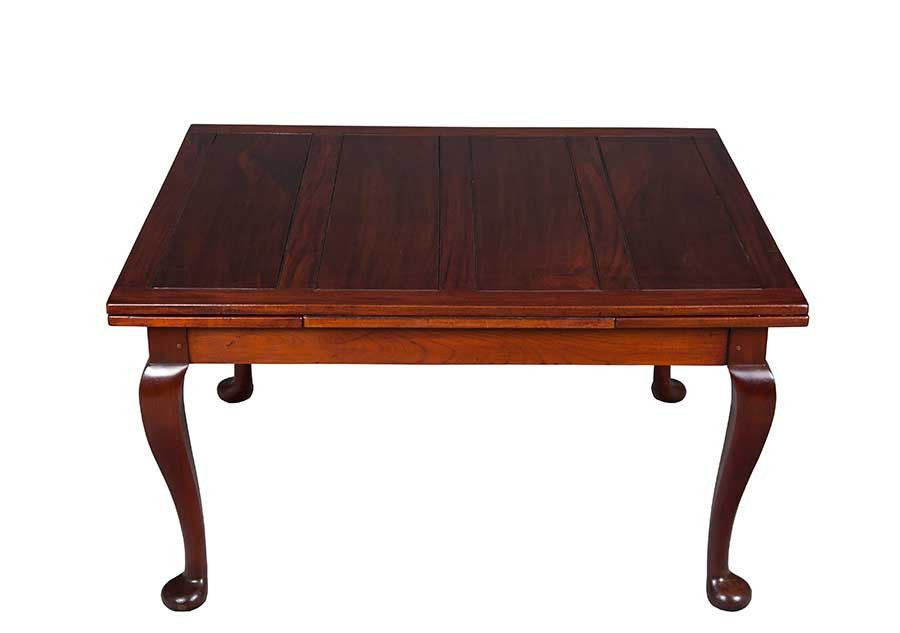 Antique Queen Anne Mahogay Draw Leaf Pub Style Dining Table Large