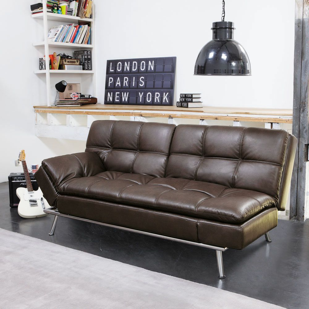 Brown 3 Seater Tufted Clic Clac Sofa Bed Furniture