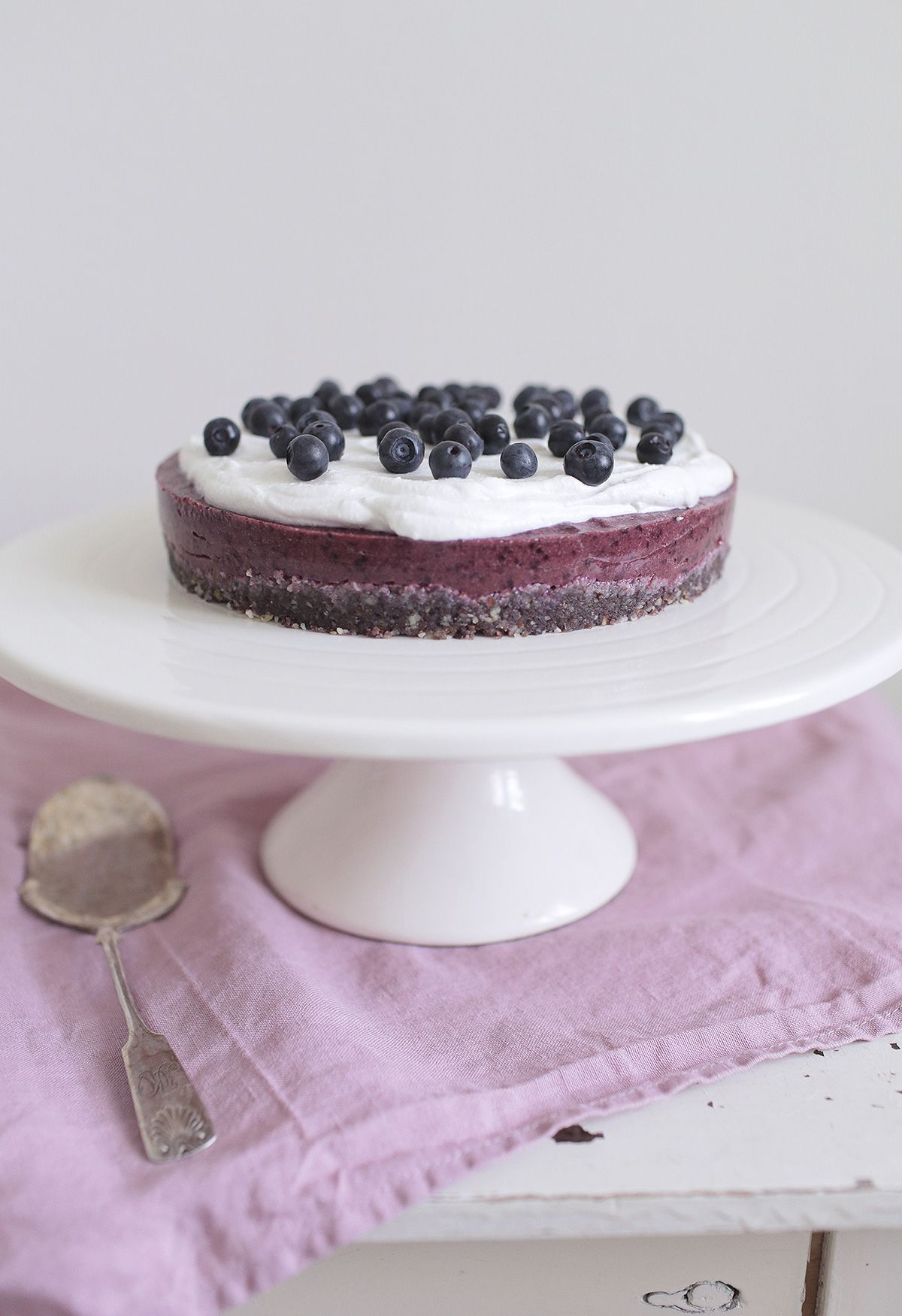 ... raw bilberry cake with coconut whipped cream ...