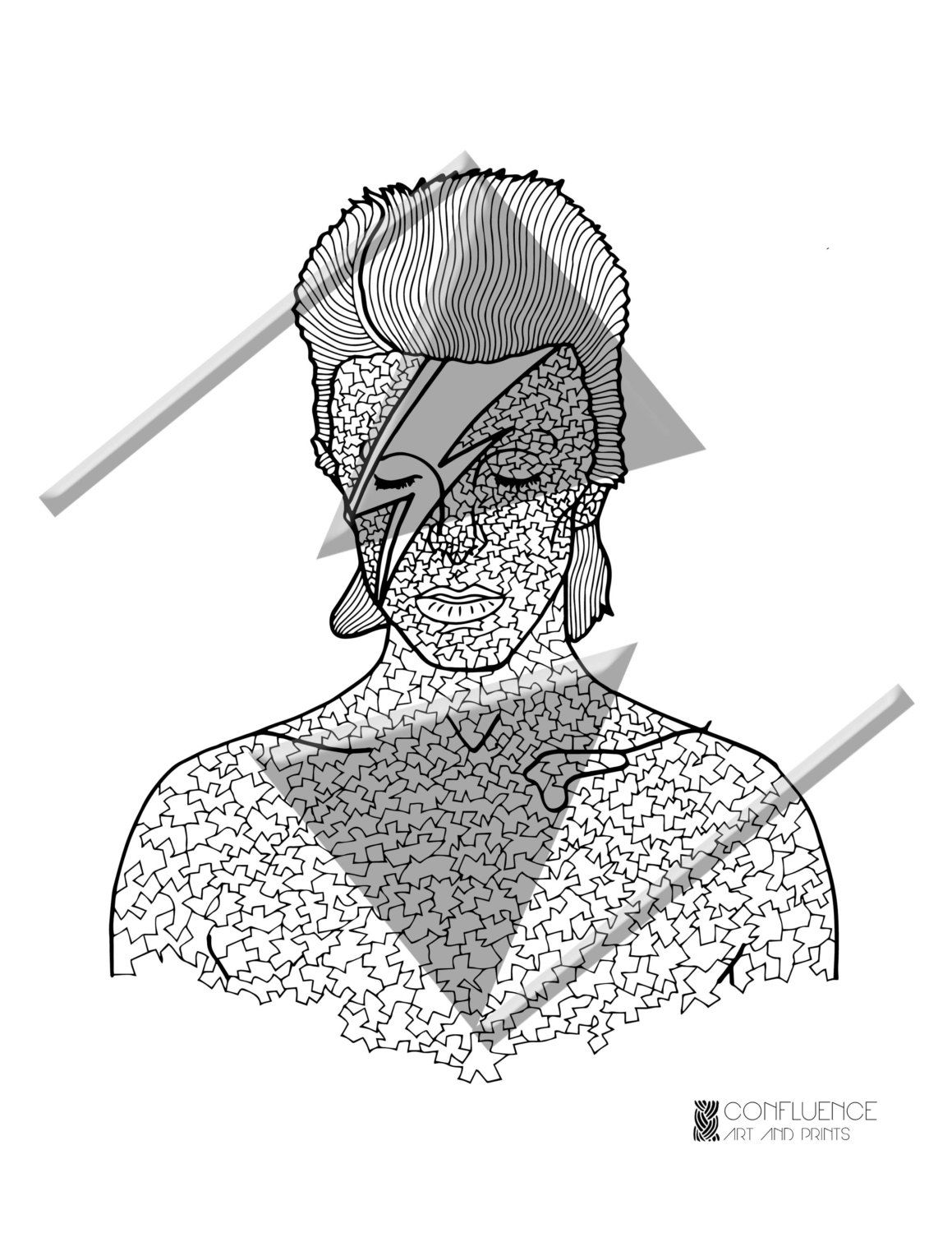 adult coloring pages coloring for adults david bowie mosaic pop art printable coloring sheets printable coloring page printable gifts