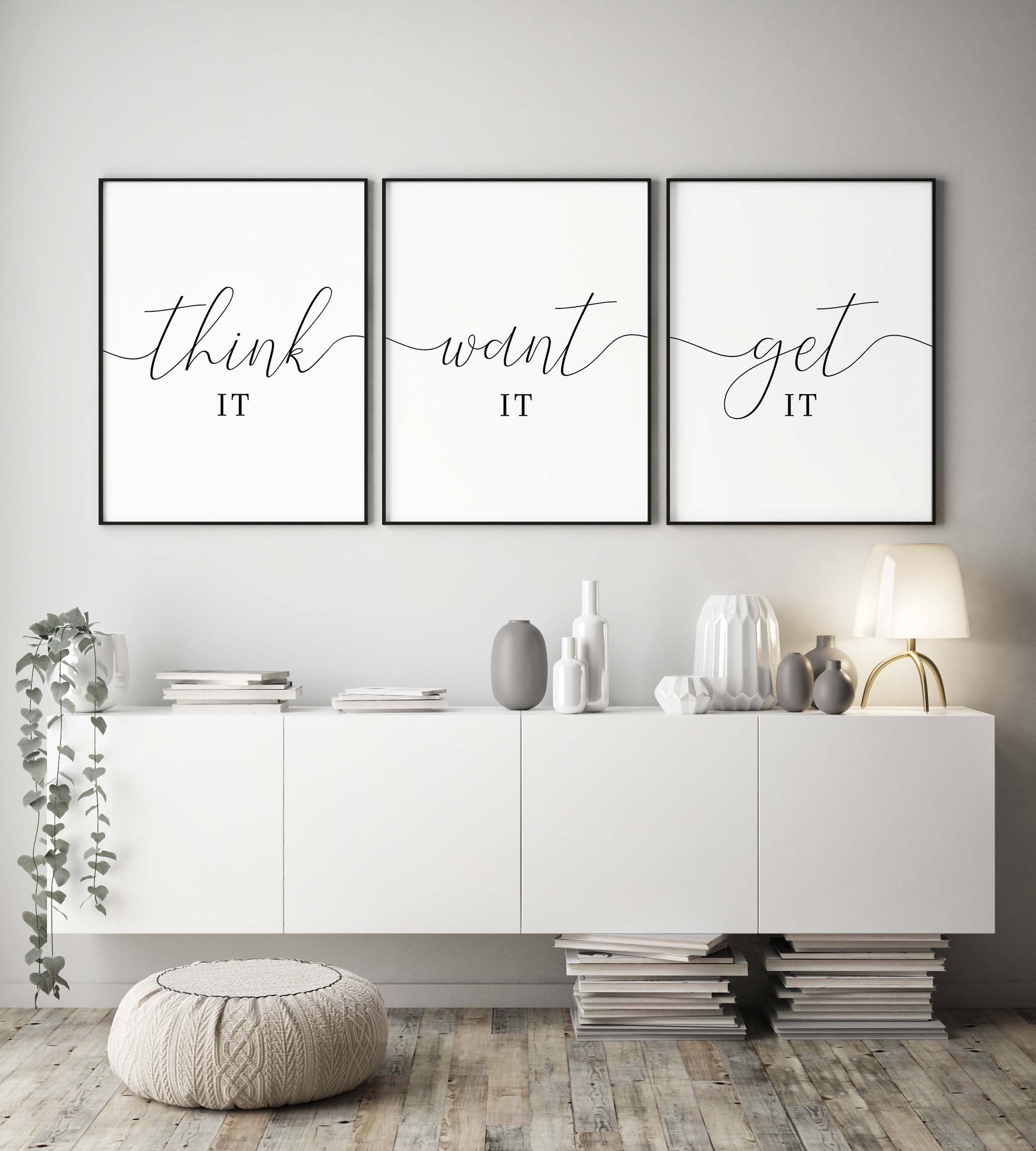 Motivational Printthink It Want It Get Itoffice Wall Etsy Living Room Quotes Wall Art Living Room Room Wall Decor