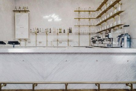 royal exchange grind by biasol design studio white marble bar front counter white - Marble Cafe Decoration
