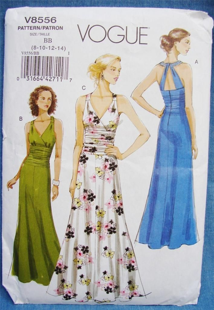 Vogue Sew Pattern V8556 Evening Long Gown w Halter Top Open Back 8 ...