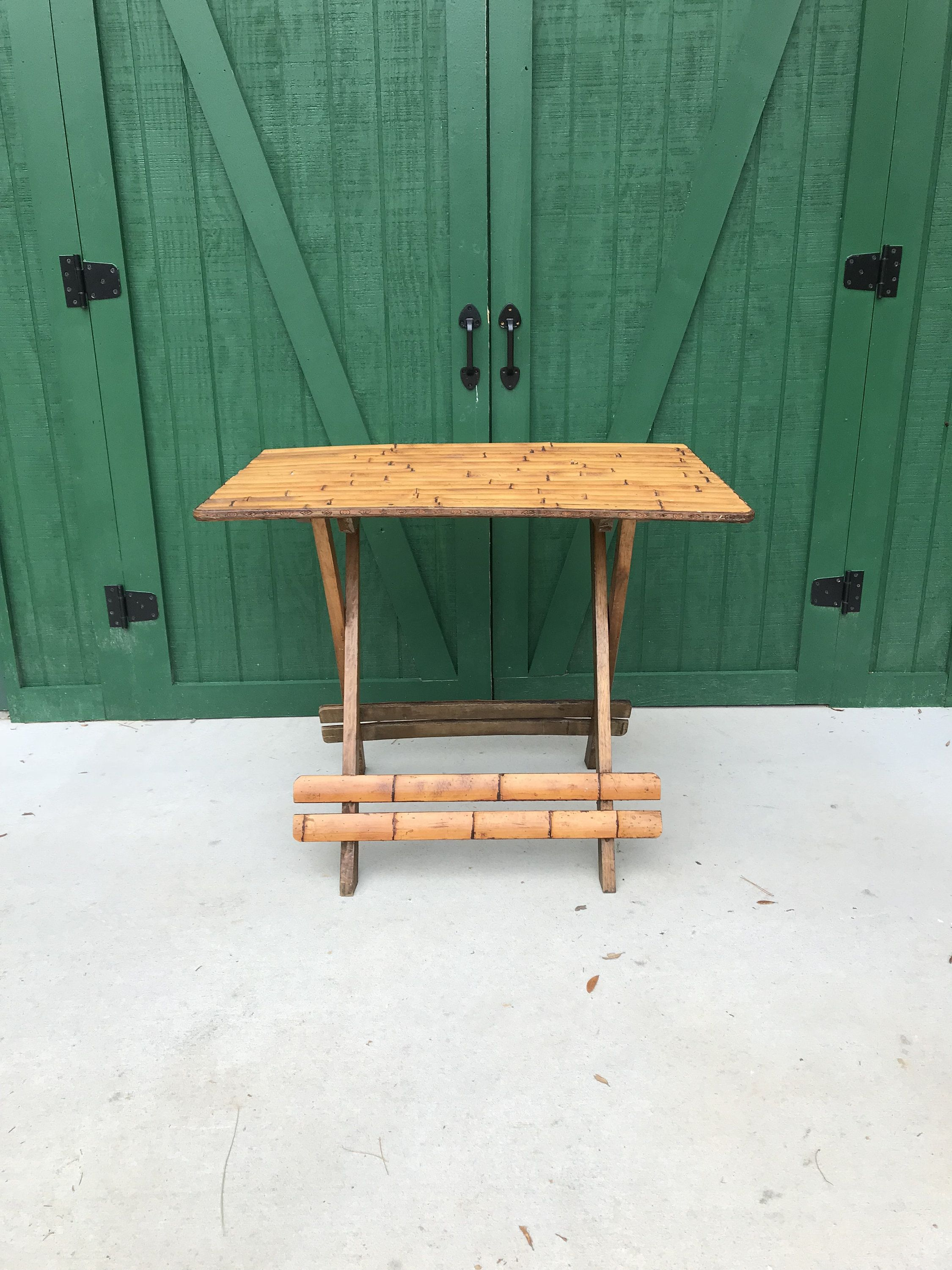Bon Vintage Bamboo Picnic Table, Circa 1950,Teak Base, Folding Table, Patio  Furniture