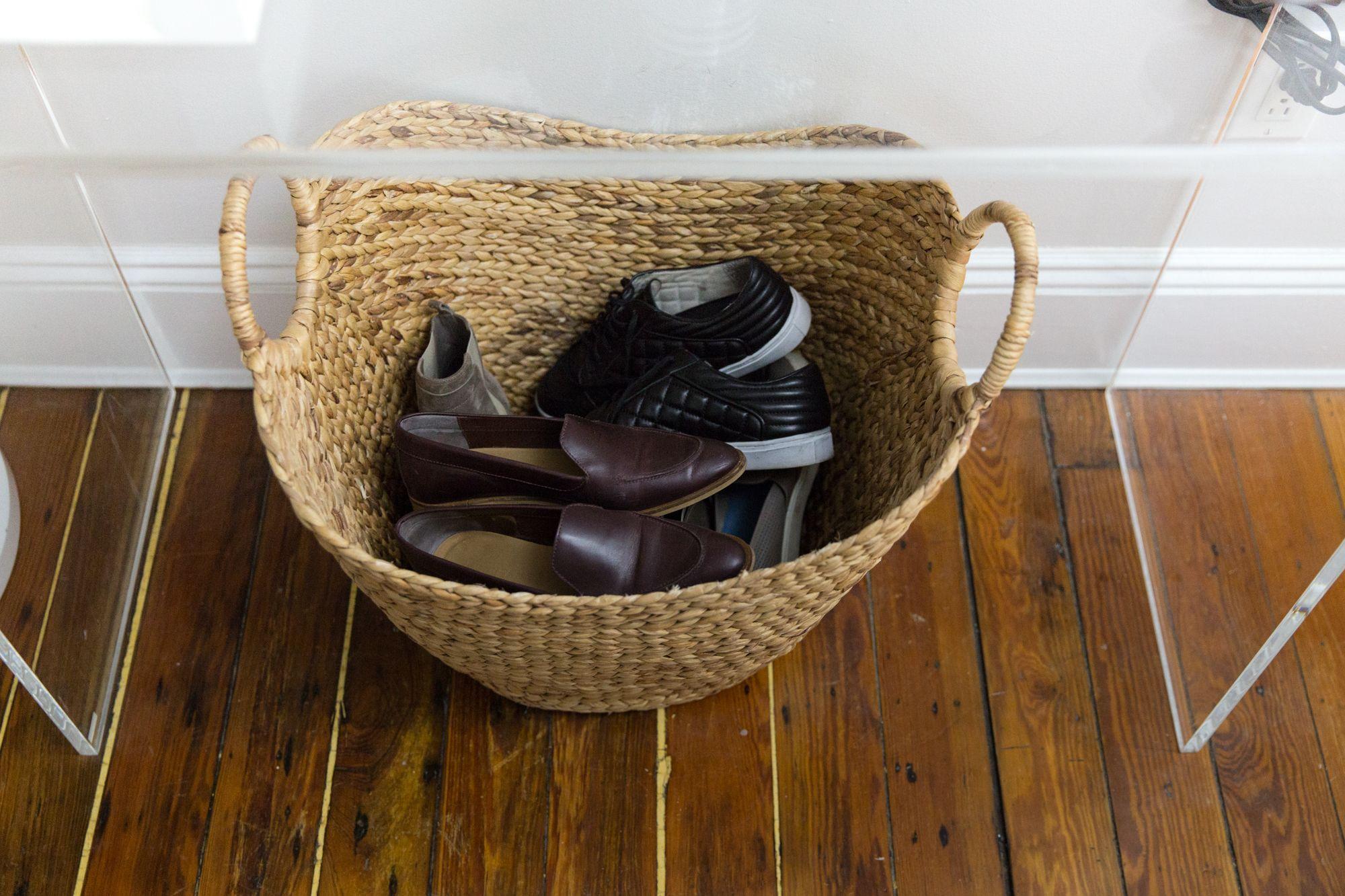 Genius shoe storage under the table.