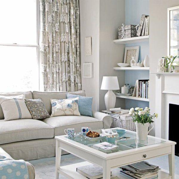 wohnzimmer helles interieur pastellfarben blau beige ... - Wohnzimmer Mit Blau