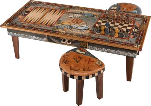 two game urban game table w pirate chess sett and 2. Black Bedroom Furniture Sets. Home Design Ideas
